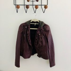 Free People leather jacket w/ hood